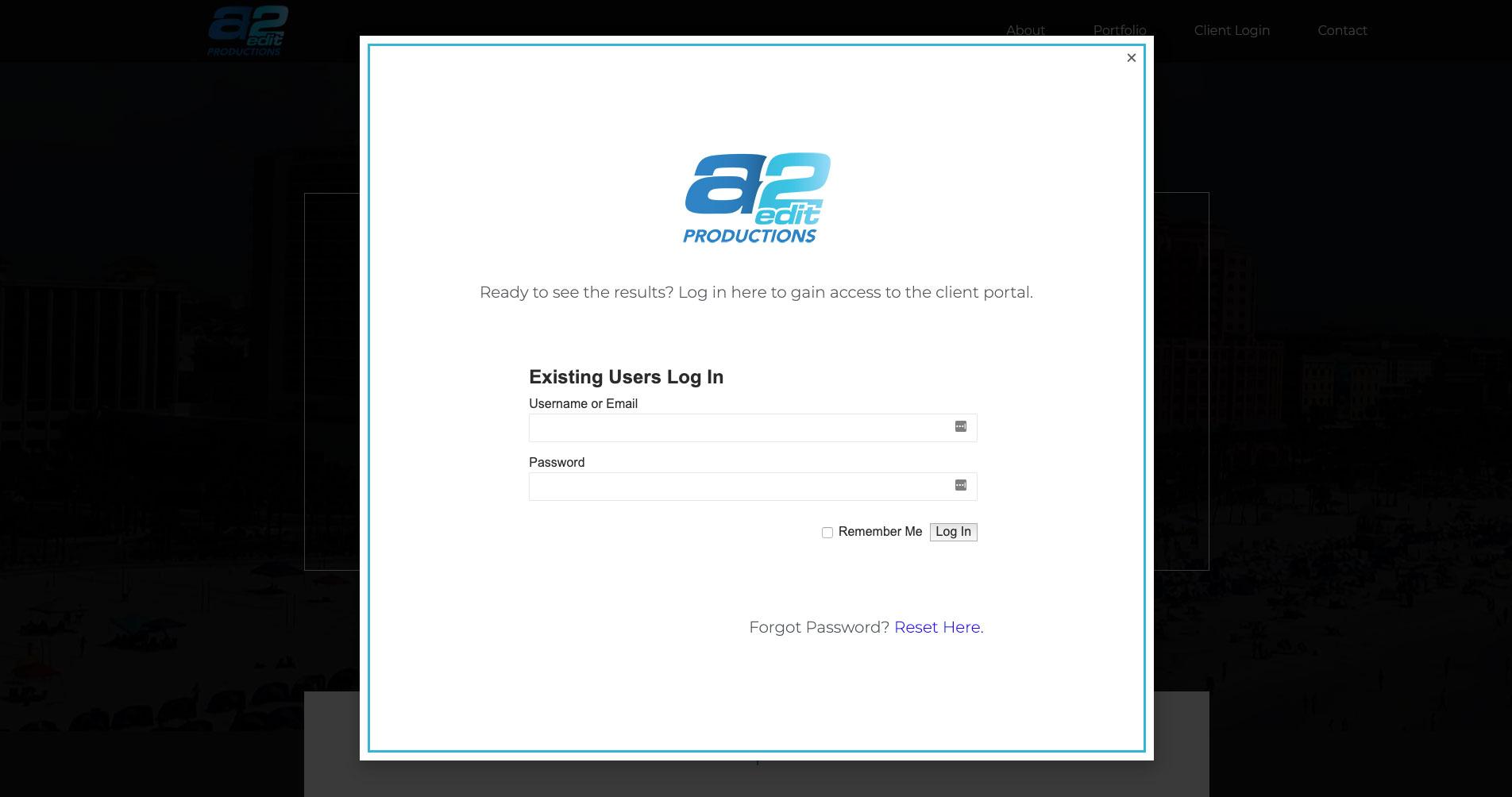 Oseeyo Web Development and Design - a2Edit client log in screen