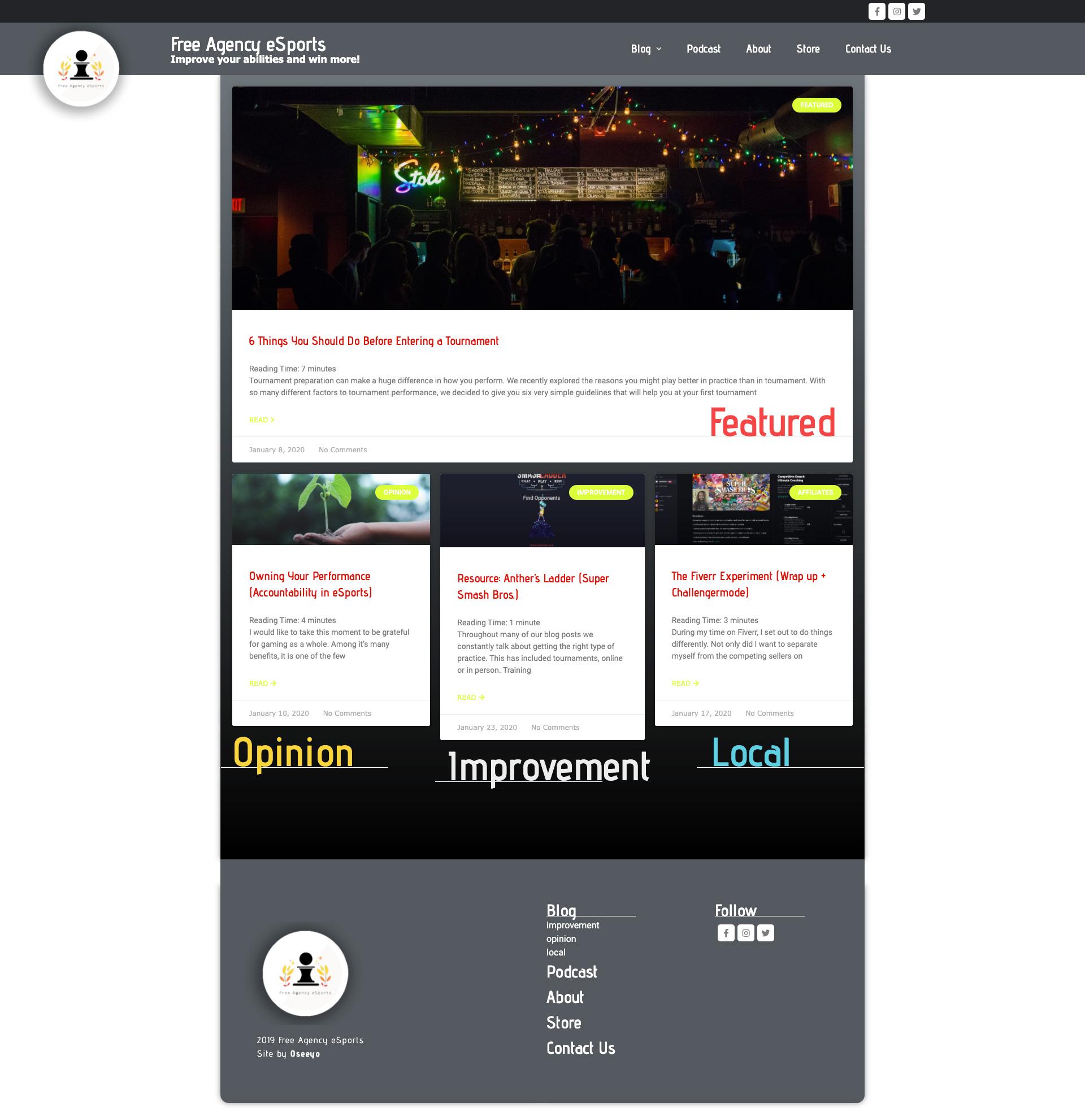 Oseeyo Web Development and Design - Free Agency eSports - news agency website - Vero Beach, FL